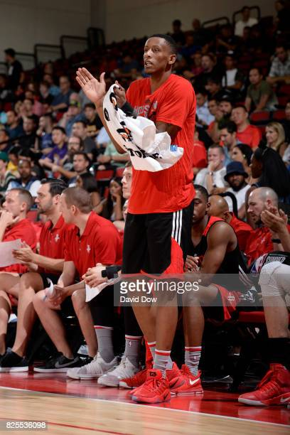 Troy Williams of the Houston Rockets reacts from the sidelines against the Cleveland Cavaliers during the 2017 Las Vegas Summer League on July 8 2017...