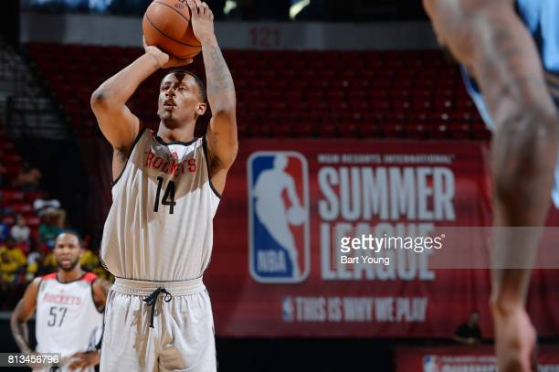 Troy Williams of the Houston Rockets shoots a free throw against the Denver Nuggets during the 2017 Summer League on July 12 2017 at the Thomas Mack...