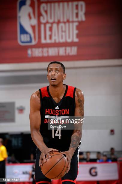 Troy Williams of the Houston Rockets shoots a free throw against the Atlanta Hawks during the 2017 Summer League on July 14 2017 at Cox Pavillion in...