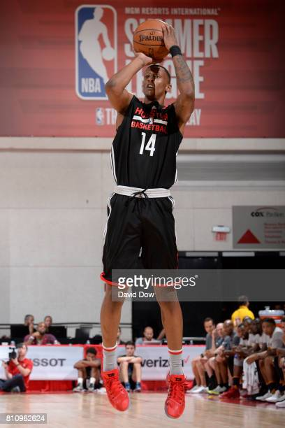Troy Williams of the Houston Rockets shoots the ball against the Cleveland Cavaliers during the 2017 Las Vegas Summer League on July 8 2017 at the...