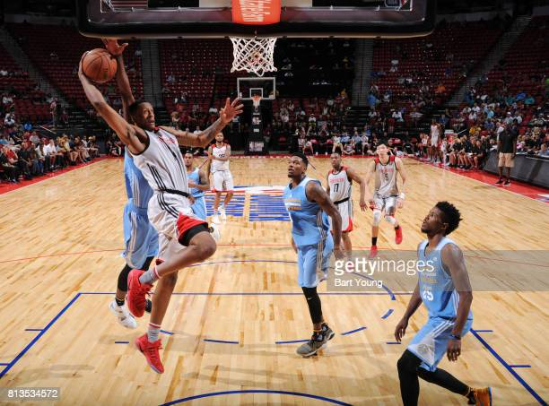 Troy Williams of the Houston Rockets shoots the ball against the Denver Nuggets during the 2017 Summer League on July 12 2017 at the Thomas Mack...