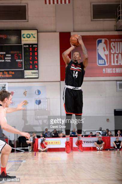 Troy Williams of the Houston Rockets shoots the ball against the Atlanta Hawks during the 2017 Summer League on July 14 2017 at Cox Pavillion in Las...