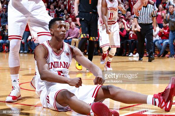 Troy Williams of the Indiana Hoosiers celebrates after a made basket against the Maryland Terrapins in the first half of the game at Assembly Hall on...