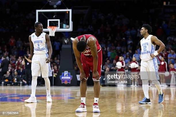 Troy Williams of the Indiana Hoosiers leans over late in the second half against the North Carolina Tar Heels during the 2016 NCAA Men's Basketball...