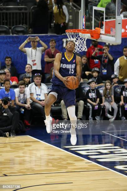 Troy Williams of the Iowa Energy dunks during the NBA DLeague Dunk Contest as part of 2017 AllStar Weekend at the MercedesBenz Super Dome on February...