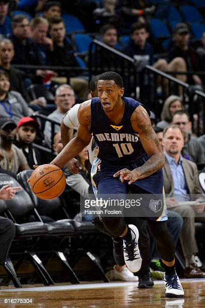 Troy Williams of the Memphis Grizzlies brings the ball down court during the preseason game against the Minnesota Timberwolves on October 19 2016 at...