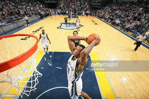 Troy Williams of the Memphis Grizzlies goes up for a dunk against the Golden State Warriors on December 10 2016 at FedExForum in Memphis Tennessee...