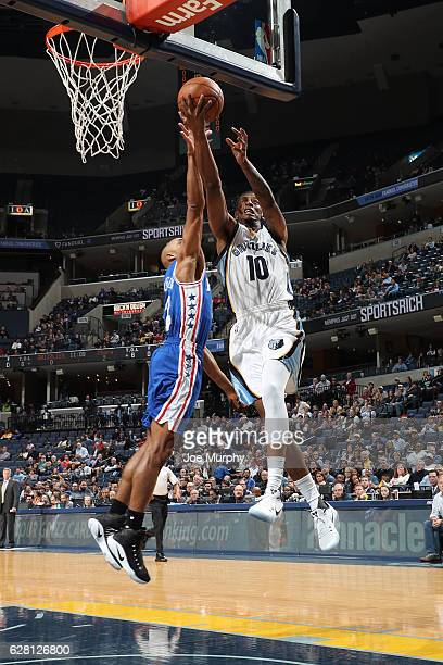 Troy Williams of the Memphis Grizzlies goes up for a lay up against the Philadelphia 76ers on December 6 2016 at FedExForum in Memphis Tennessee NOTE...