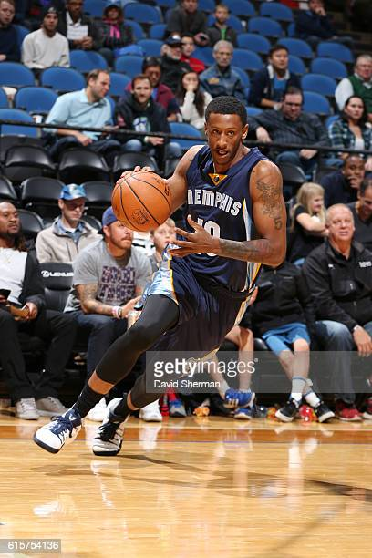 Troy Williams of the Memphis Grizzlies handles the ball during a preseason game against the Minnesota Timberwolves on October 19 2016 at Target...