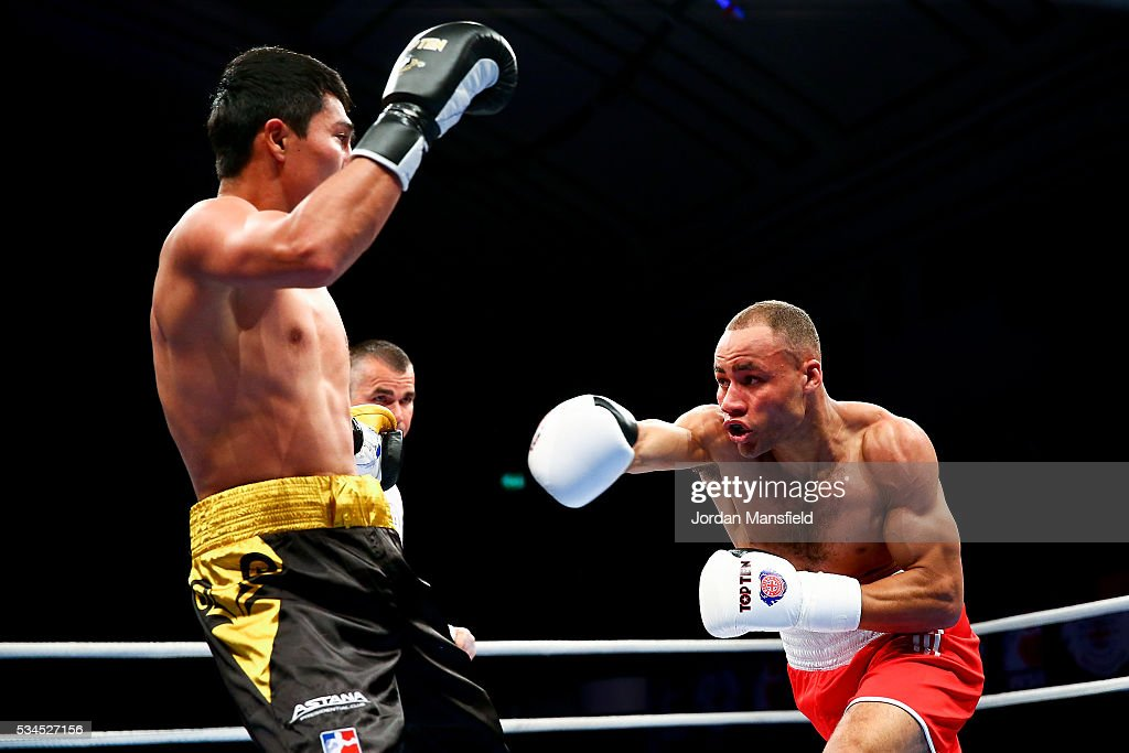 <a gi-track='captionPersonalityLinkClicked' href=/galleries/search?phrase=Troy+Williamson&family=editorial&specificpeople=749123 ng-click='$event.stopPropagation()'>Troy Williamson</a> of British Lionhearts (R) in action against Meiirim Nursultanov of Astana Arlans (L) in the semi-final of the World Series of Boxing between the British Lionhearts and Kazakhstan at York Hall on May 26, 2016 in London, England.
