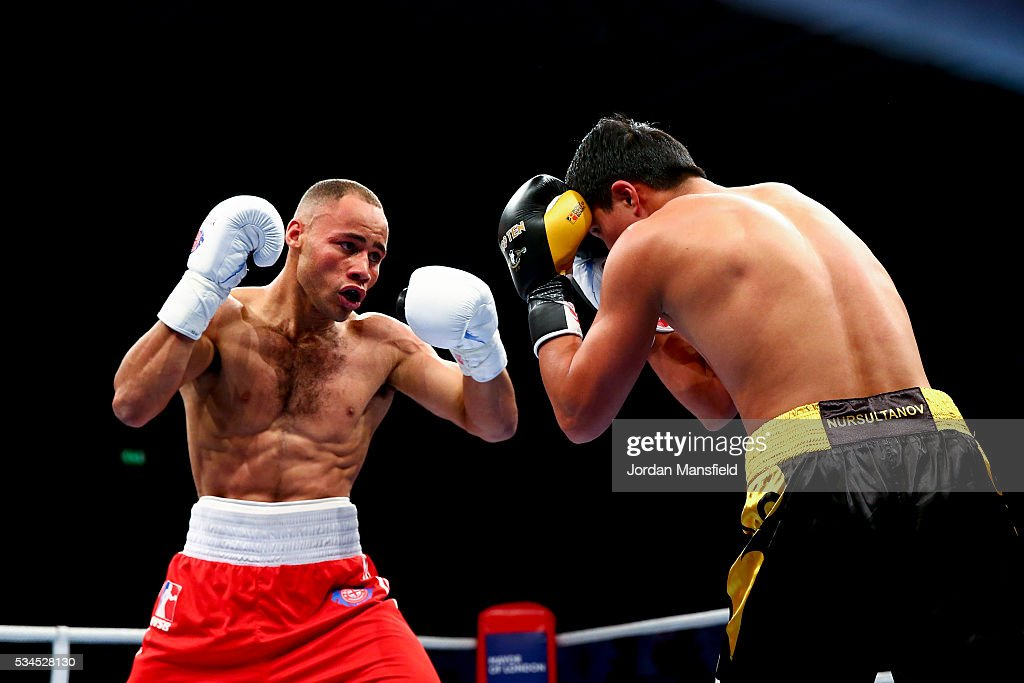 <a gi-track='captionPersonalityLinkClicked' href=/galleries/search?phrase=Troy+Williamson&family=editorial&specificpeople=749123 ng-click='$event.stopPropagation()'>Troy Williamson</a> of British Lionhearts (L) in action against Meiirim Nursultanov of Astana Arlans (R) in the semi-final of the World Series of Boxing between the British Lionhearts and Kazakhstan at York Hall on May 26, 2016 in London, England.