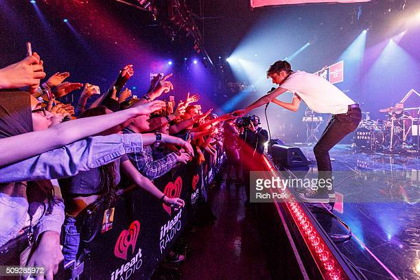 Troye Sivan performs on stage at iHeartRadio Theater on February 9 2016 in Burbank California