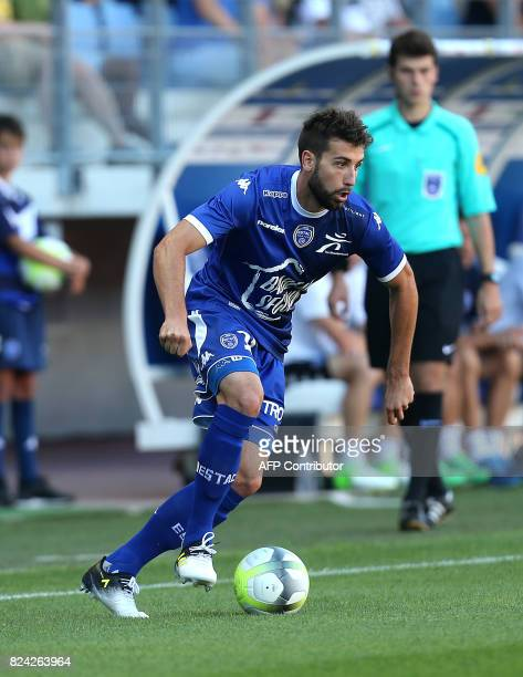 Troyes' defender Mathieu Deplagne controls the ball during the French friendly football match between Troyes and Amiens at the Stade de l'Aube...