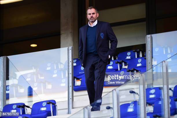 Troyes director Francis Boudin before the Ligue 1 match between ESTAC Troyes and Montpellier Herault SC at Stade de l'Aube on September 16 2017 in...