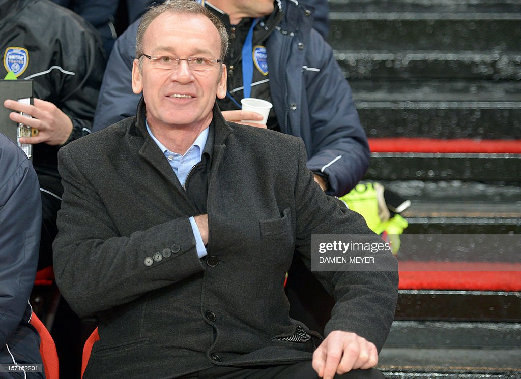 Troyes' French coach Jean-Marc Furlan attends the French cup football match Rennes against Troyes on November 29 , 2012 at the route de Lorient stadium in Rennes, western France.