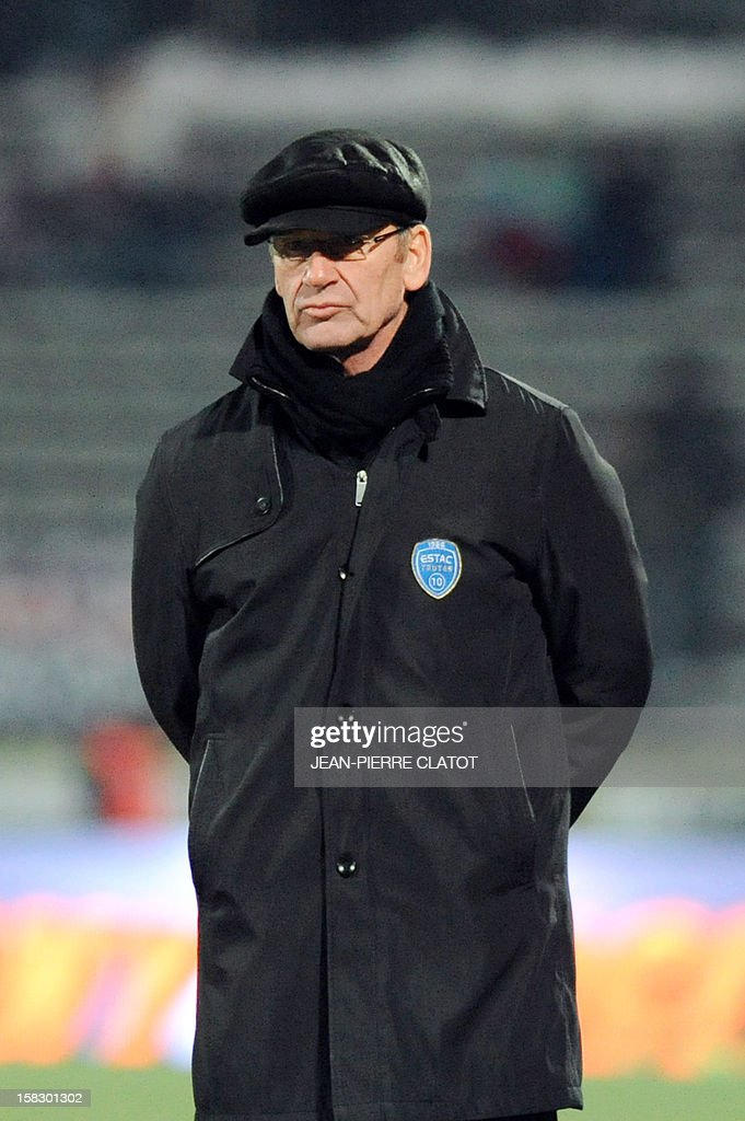 Troyes' French coach Jean-Marc Furlan gestures to his players during their French L1 football match Evian (ETGFC) vs Troyes (ESTAC) on December 12, 2012 at the city stadium Parc des sports in Annecy, eastern France.