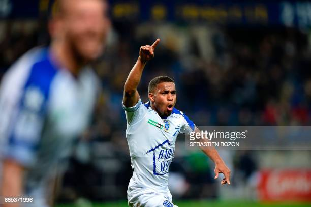 Troyes' French forward Samuel Grandsir celebrates after scoring during the French L2 football match Sochaux versus Troyes on May 19 2017 at the...