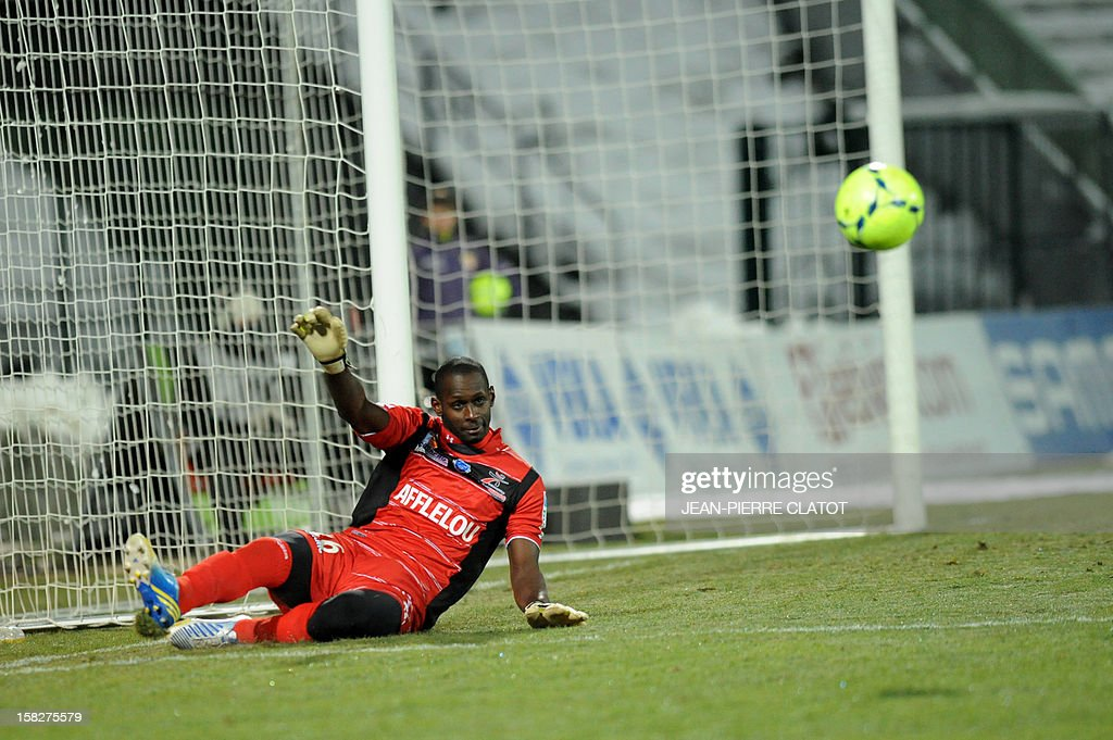 Troyes' French goalkeeper Yohann Thuram is pictured during their French L1 football match Evian (ETGFC) vs Troyes (ESTAC) december 12, 2012 at the city stadium Parc des sports in Annecy, eastern France