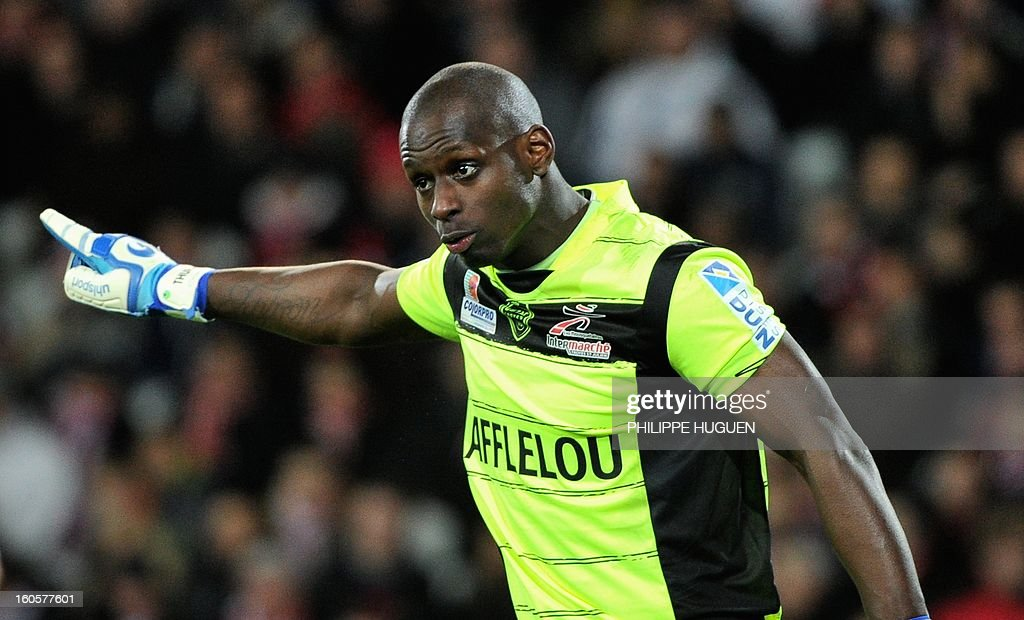 Troyes' French goalkeeper Yohann Thuram reacts during the French L1 football match Lille (LOSC) vs Troyes (ESTAC) on February 2, 2013 at the Grand Stade Stadium in Villeneuve d'Ascq.