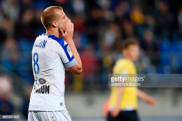 Troyes' French midfielder Stephane Darbion reacts after scoring a goal during the French L2 football match Sochaux versus Troyes on May 19 2017 at...