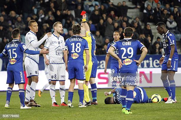 Troyes' Stephane Darbion react as he receives a red card during the French L1 football match between Bastia and Troyes on February 6 2016 at Armand...