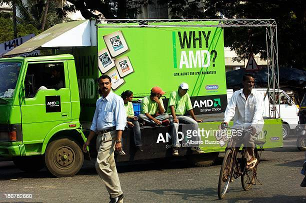 A truck advertising processors from AMD Mumbai's advertising market is the strongest in India