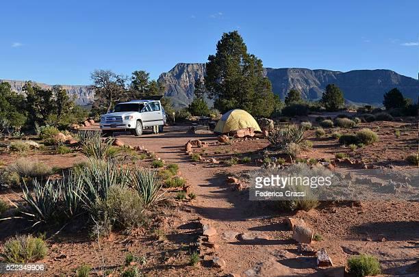 Truck And Camping Tent At Toroweap Point, Grand Canyon National Park, North Rim, Arizona