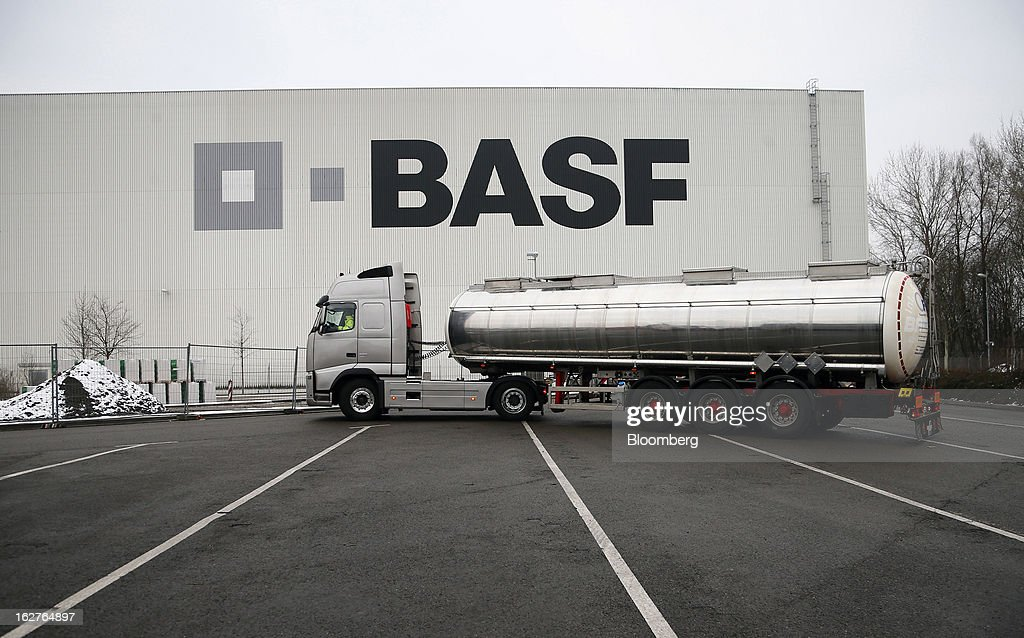 A truck arrives at a distribution warehouse at BASF SE's headquarters in Ludwigshafen, Germany, on Tuesday, Feb. 26, 2013. BASF SE forecast growth in earnings and sales this year after demand for plastics used to lighten cars and higher oil production buoyed quarterly earnings. Photographer: Ralph Orlowski/Bloomberg via Getty Images