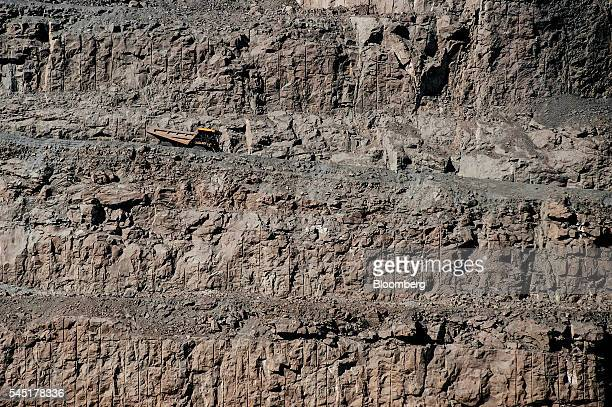 A truck arrives to collect diamond bearing rock ore also known as kimberlite in the satellite pit at the Letseng diamond mine operated by Gem...