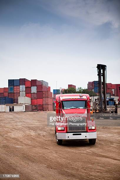Truck at container storage yard
