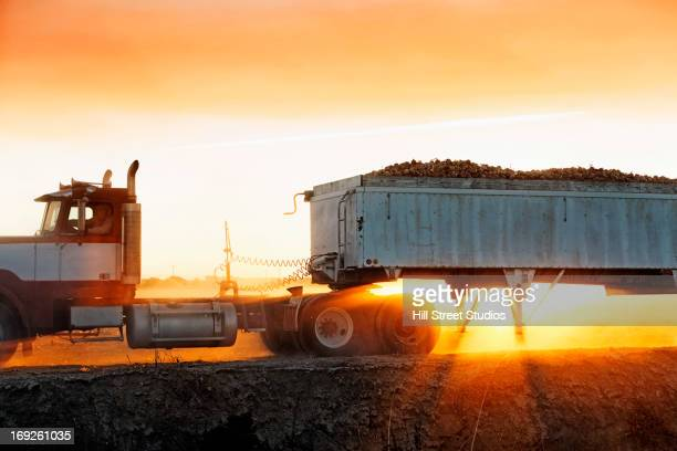 Truck carrying produce in crop field