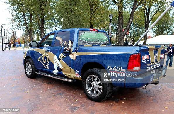 RAM truck decorated with St Louis Rams logo and team colors sits outside the Edward Jones Dome home of the St Louis Rams football team hours before a...
