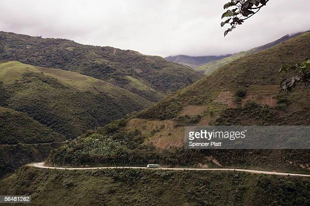 A truck descends down the road connecting the city of La Paz to the Coroico in the North Yungas December 21 2005 in the Yungas Bolivia Referred to as...