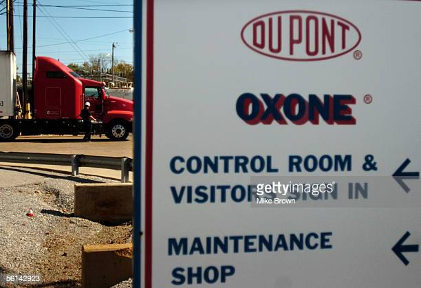 A truck driver gets ready to leave with a load of DuPont's Oxone at the DuPont plant November 11 2005 in Memphis Tennessee Oxone is the active...
