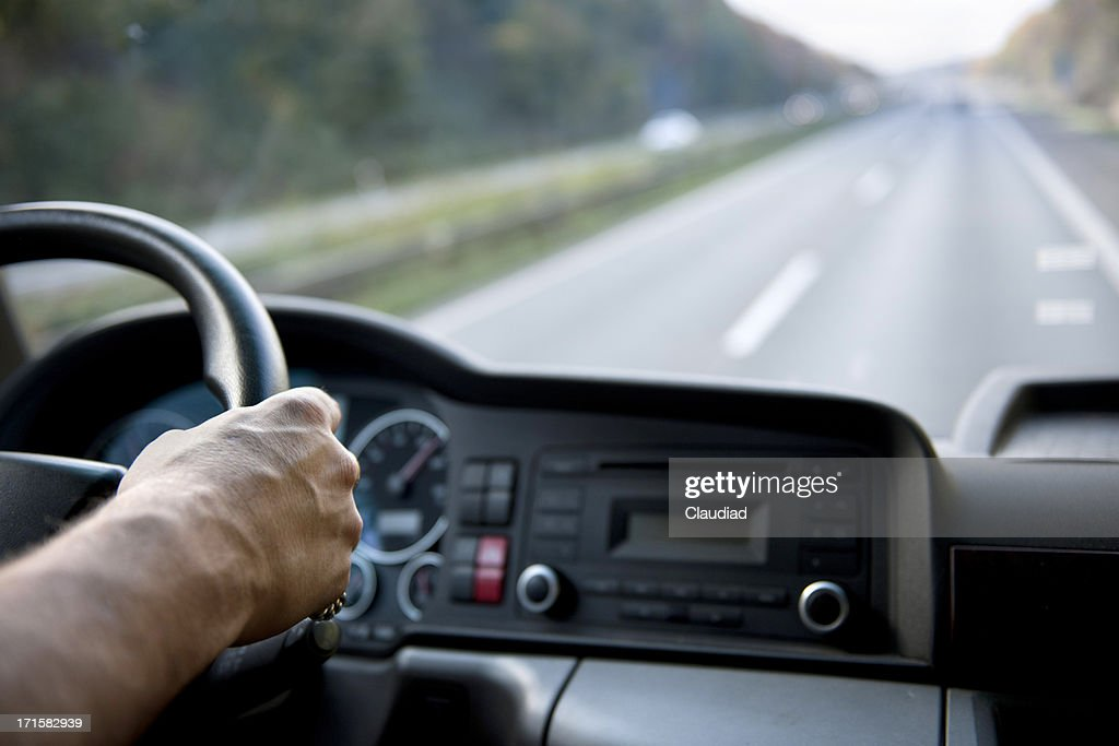 Truck driver on german autobahn