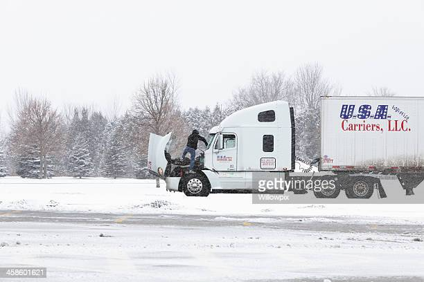 Truck Driver Scraping Winter Blizzard Ice From Windshield