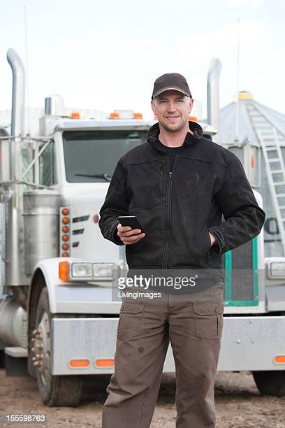 Truck Driver with Smartphone