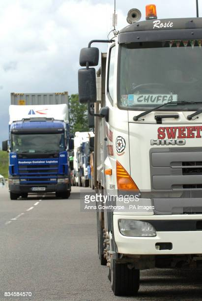 Truck drivers gather for a demonstation along the M62 in West Yorkshire to protest against high fuel prices
