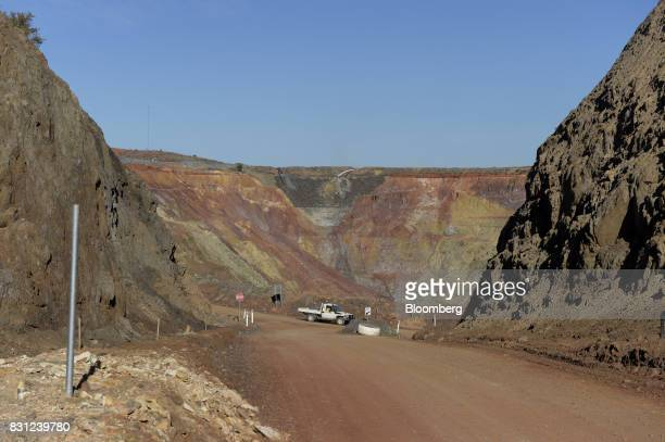 A truck drives along an access road leading to the Millennium mine's decline portal at the Kundana site of Northern Star Resources Ltd's Kalgoorlie...