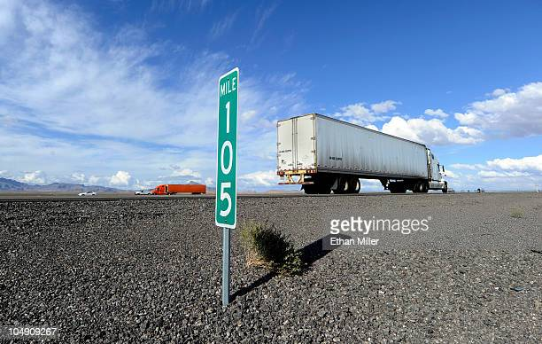 A truck drives by a mile marker on northbound Interstate 15 on October 6 2010 near Mesquite Nevada Steve Lee frontman for the Swiss rock band...