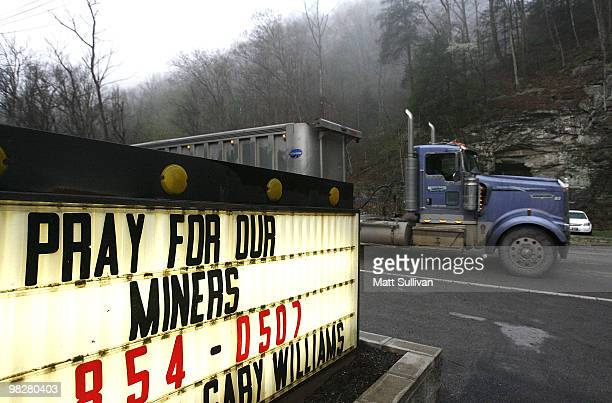 A truck drives down the road near the Upper Big Branch Mine on April 6 2010 in Montcoal West Virginia 25 miners have been killed during an explosion...