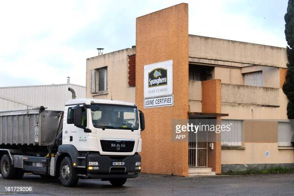 A truck drives on the grounds of the headquarters of French meat supplier Spanghero in Castelnaudary southern France on February 15 2013 The...