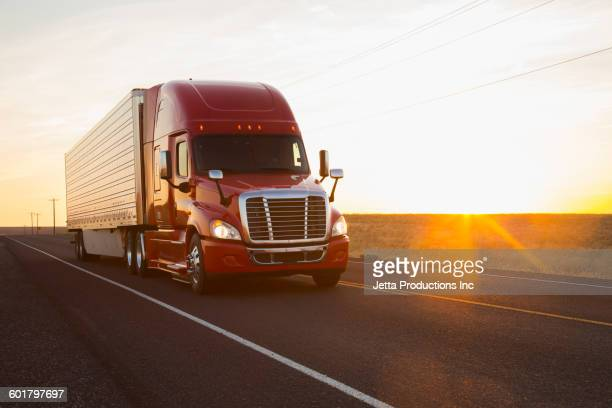 Truck driving on remote road