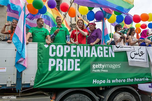 Truck from the oncoming Copenhagen Pride participating in the parade Parade closing the Rainbow festival Malmö Pride 2015 After a week long Pride...