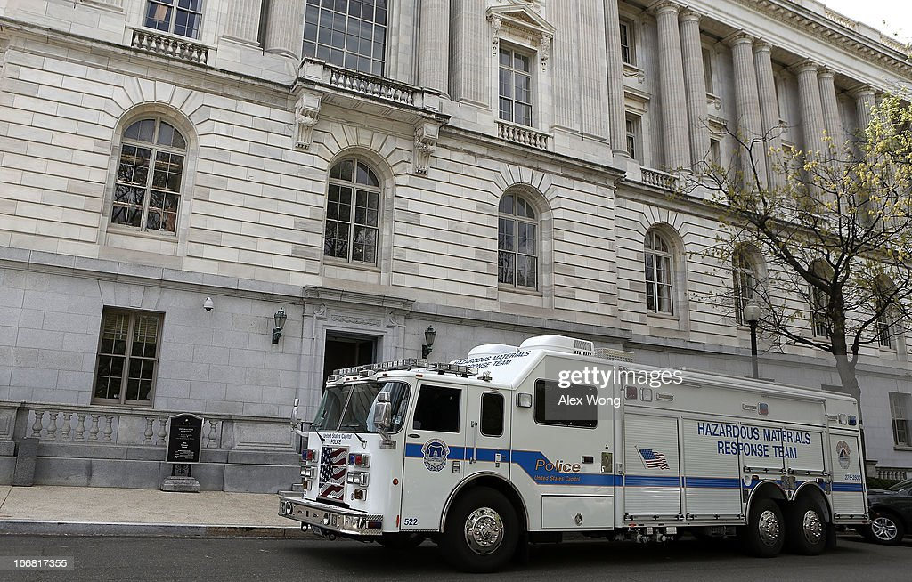 A truck from the U.S. Capitol Police Hazardous Materials Response Team parks outside of Russell Senate Office Building April 17, 2013 on Capitol Hill in Washington, DC. U.S. Capitol Police were investigating three suspicious packages in the Hart and Russell Senate Office buildings.