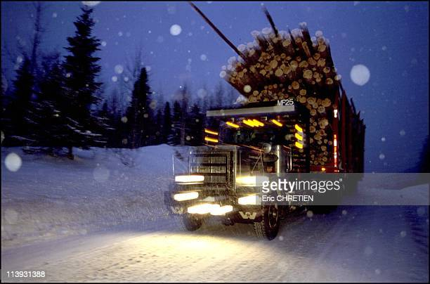 Truck 'Hors Route' Transport Of Wood Saguenay In Quebec Canada In 2000Day or night nothing can stop the continual ballet of these truckers fear not...