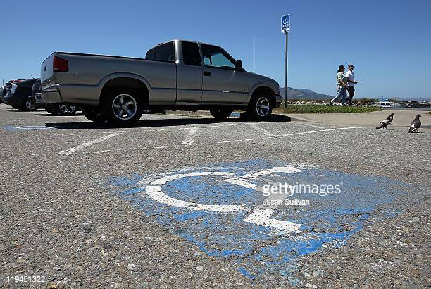 A truck is parked in a disabled parking spot on July 20 2011 in San Francisco California The California DMV says that is has sent out nearly 60000...