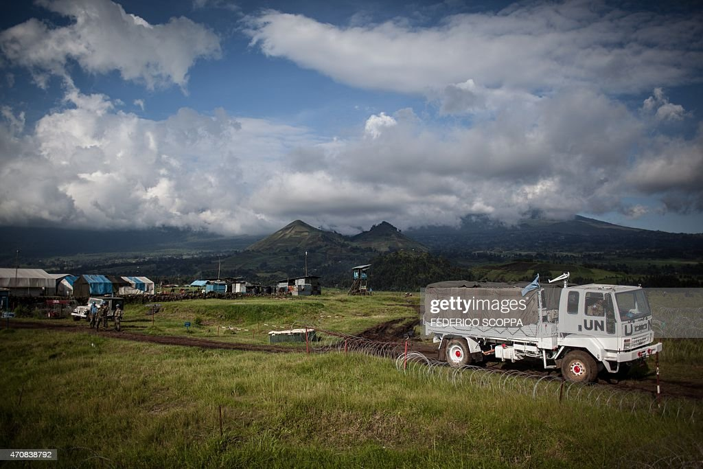 A UN truck is seen in the MONUSCO base near the Kibumba village North Kivu on April 23 2015 a few kilometers away from where allegedly Rwandan army...
