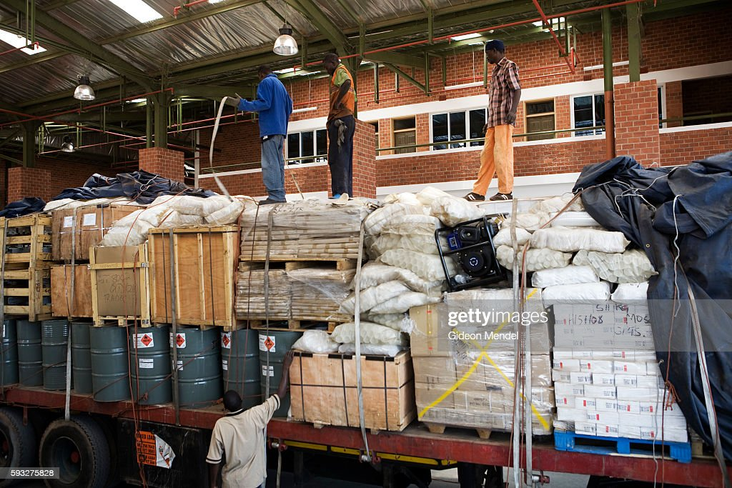 A truck is unloaded in the inspection bay of the new customs building at the border post in Chirundu on the border of Zambia and Zimbabwe This...