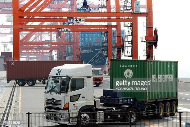 A truck leaves a container yard at the international cargo terminal in Tokyo on October 22 2012 Japan posted its worst September trade figures in...